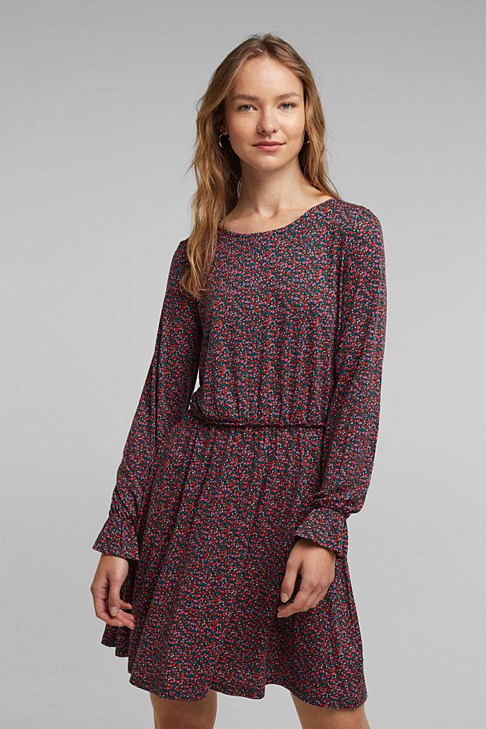 Print dress made of LENZING™ ECOVERO™, DARK TEAL GREEN, detail image number 0