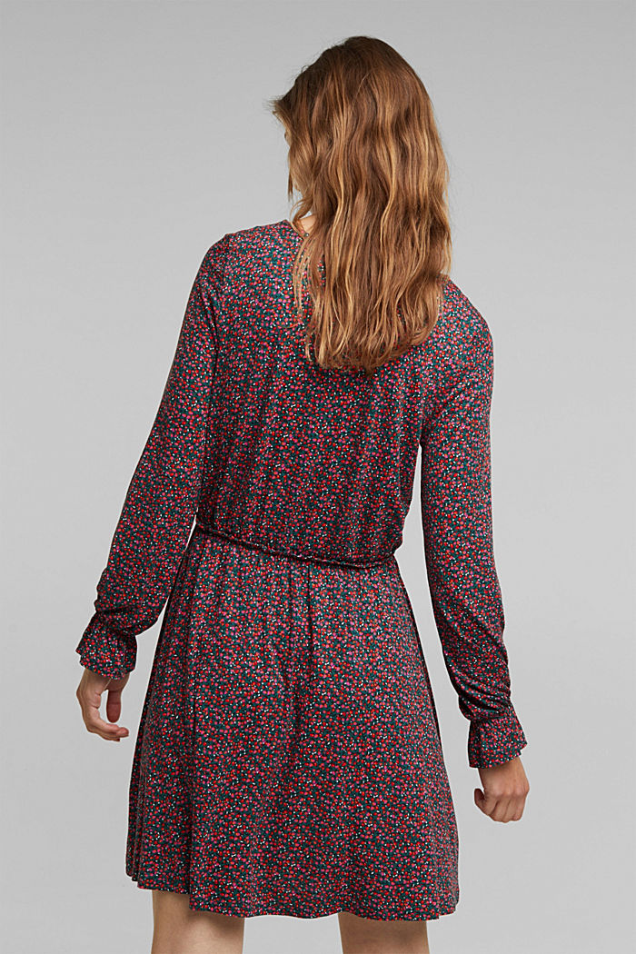 Print dress made of LENZING™ ECOVERO™, DARK TEAL GREEN, detail image number 2