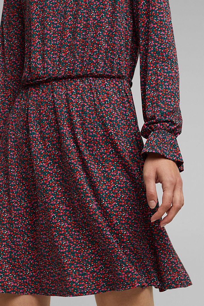 Print dress made of LENZING™ ECOVERO™, DARK TEAL GREEN, detail image number 3