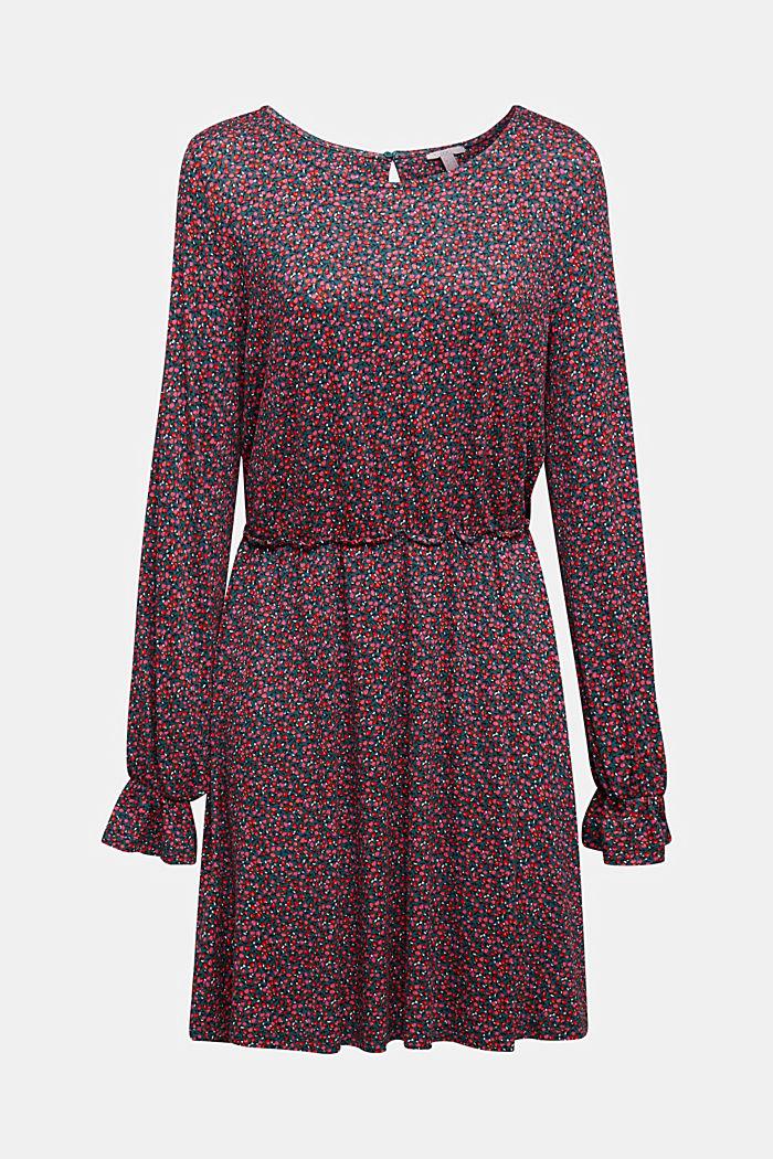 Print dress made of LENZING™ ECOVERO™, DARK TEAL GREEN, detail image number 6