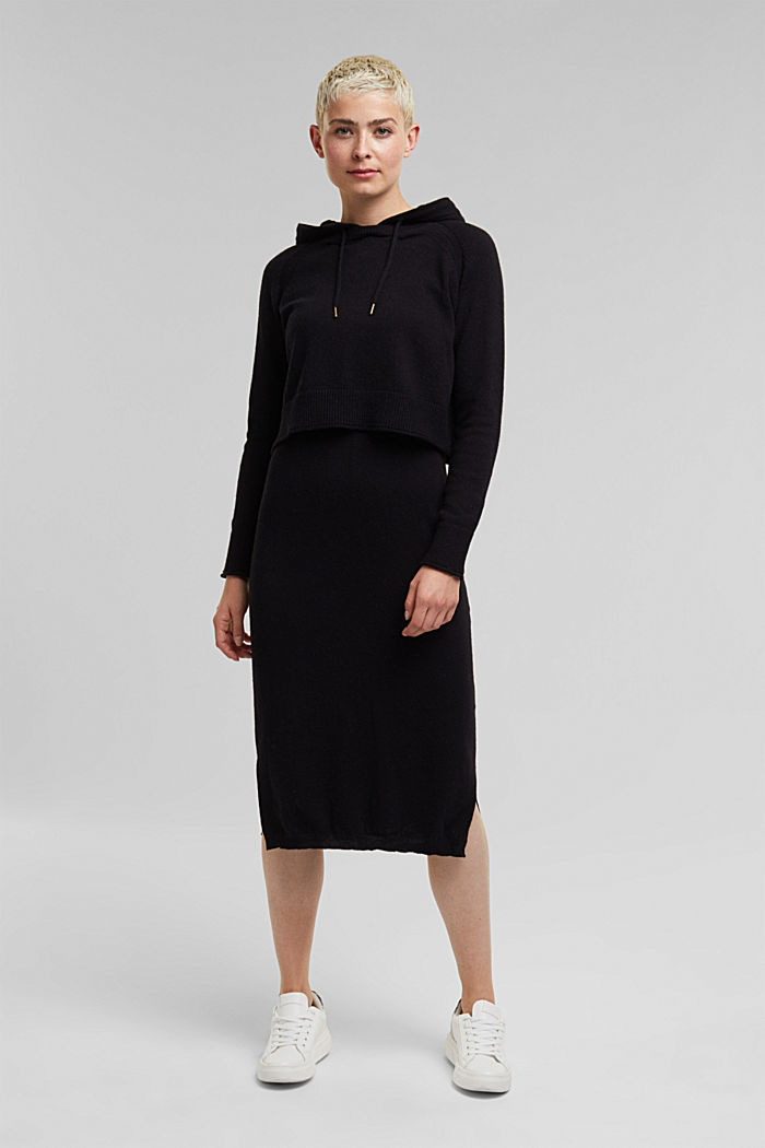 2-in-1: hoodie and midi dress made of knit fabric, BLACK, detail image number 0