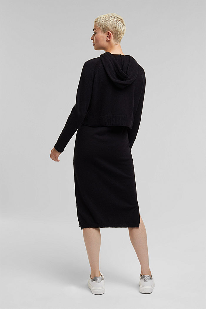 2-in-1: hoodie and midi dress made of knit fabric, BLACK, detail image number 2