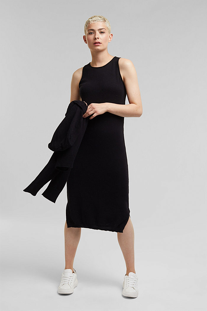 2-in-1: hoodie and midi dress made of knit fabric, BLACK, detail image number 5