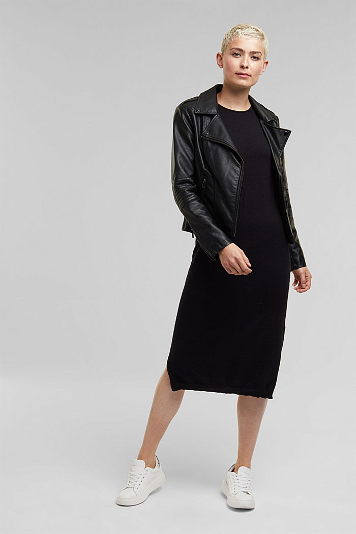 2-in-1: hoodie and midi dress made of knit fabric, BLACK, detail image number 1