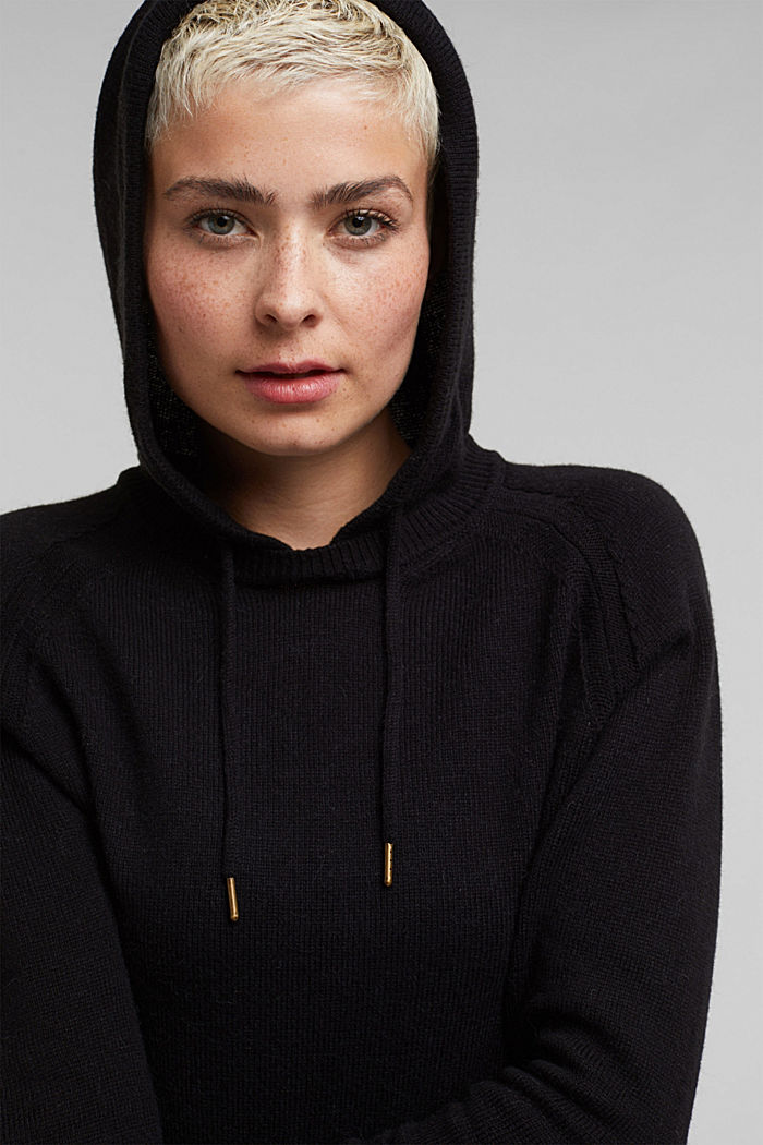 2-in-1: hoodie and midi dress made of knit fabric, BLACK, detail image number 6