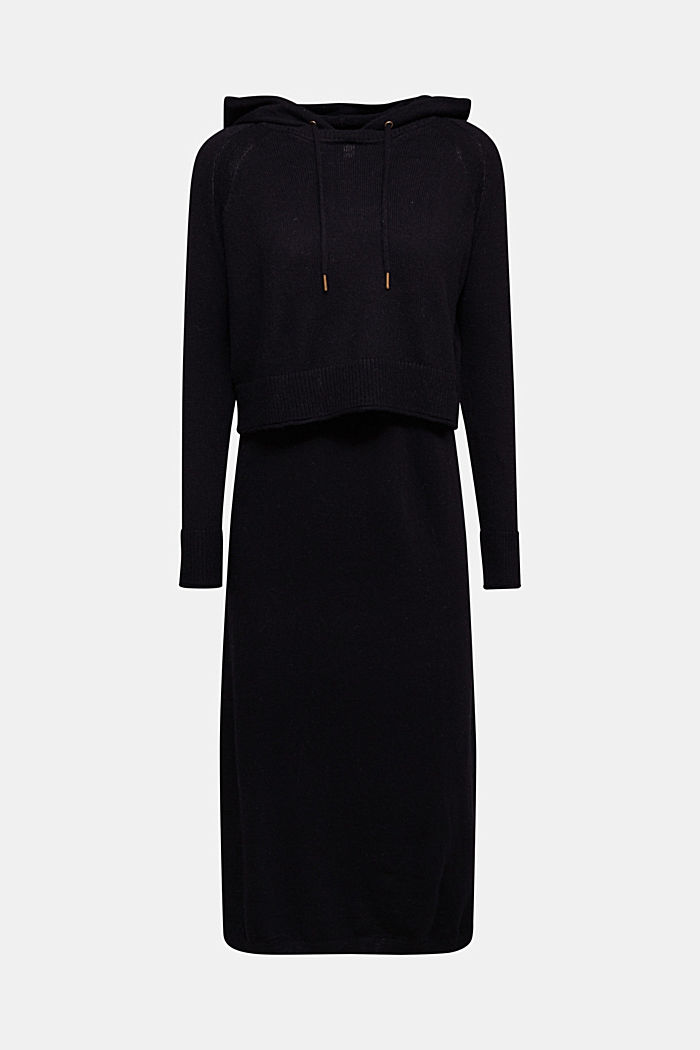 2-in-1: hoodie and midi dress made of knit fabric, BLACK, detail image number 7