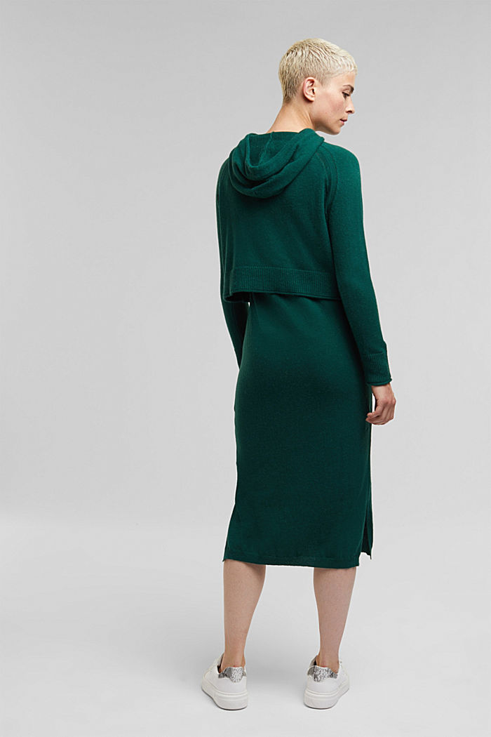 2-in-1: hoodie and midi dress made of knit fabric, DARK TEAL GREEN, detail image number 2