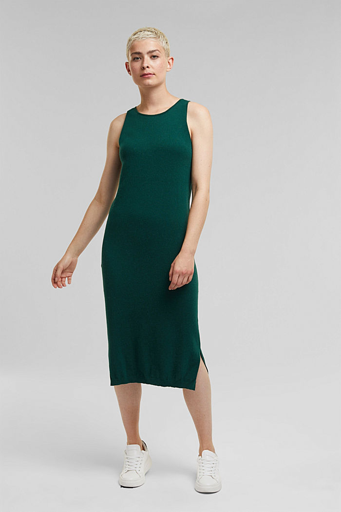 2-in-1: hoodie and midi dress made of knit fabric, DARK TEAL GREEN, detail image number 1