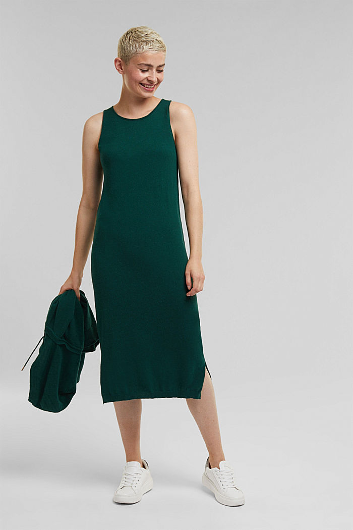 2-in-1: hoodie and midi dress made of knit fabric, DARK TEAL GREEN, detail image number 5