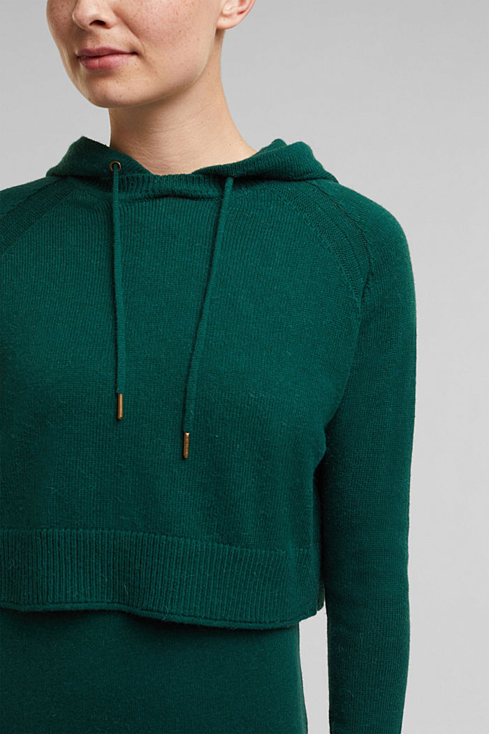 2-in-1: hoodie and midi dress made of knit fabric, DARK TEAL GREEN, detail image number 3