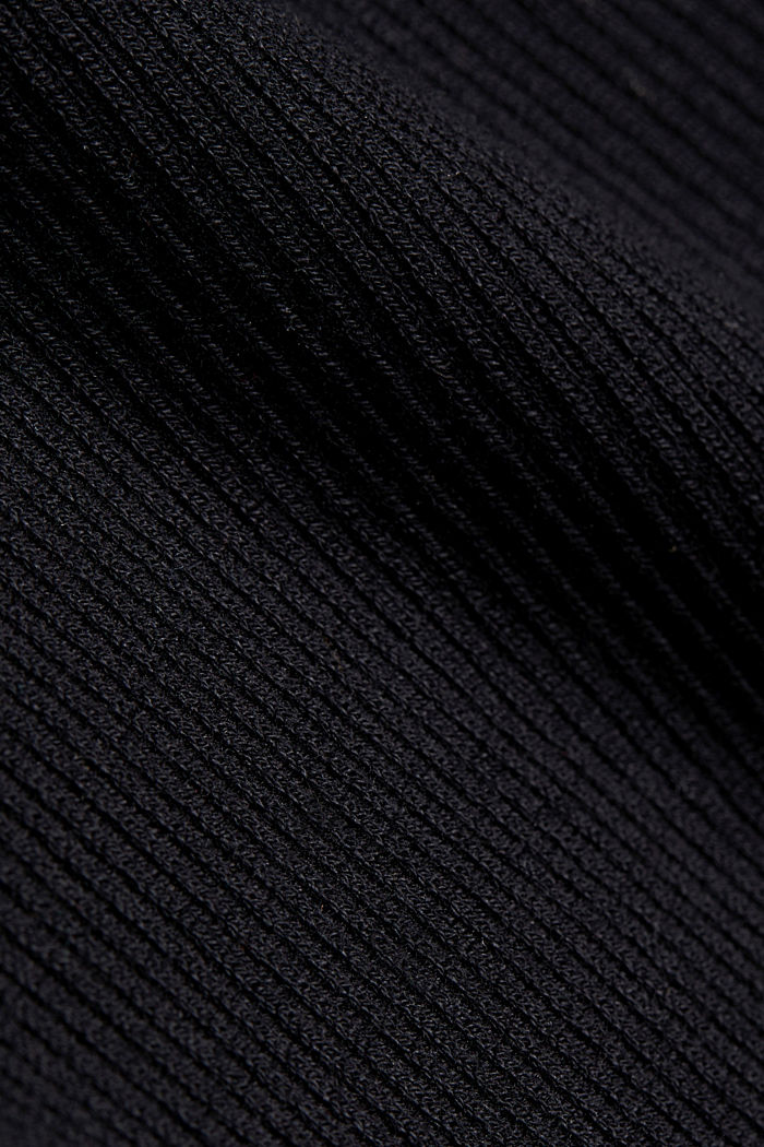 Knit dress with balloon sleeves and organic cotton, BLACK, detail image number 4