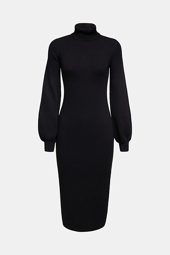 Knit dress with balloon sleeves and organic cotton, BLACK, detail image number 5
