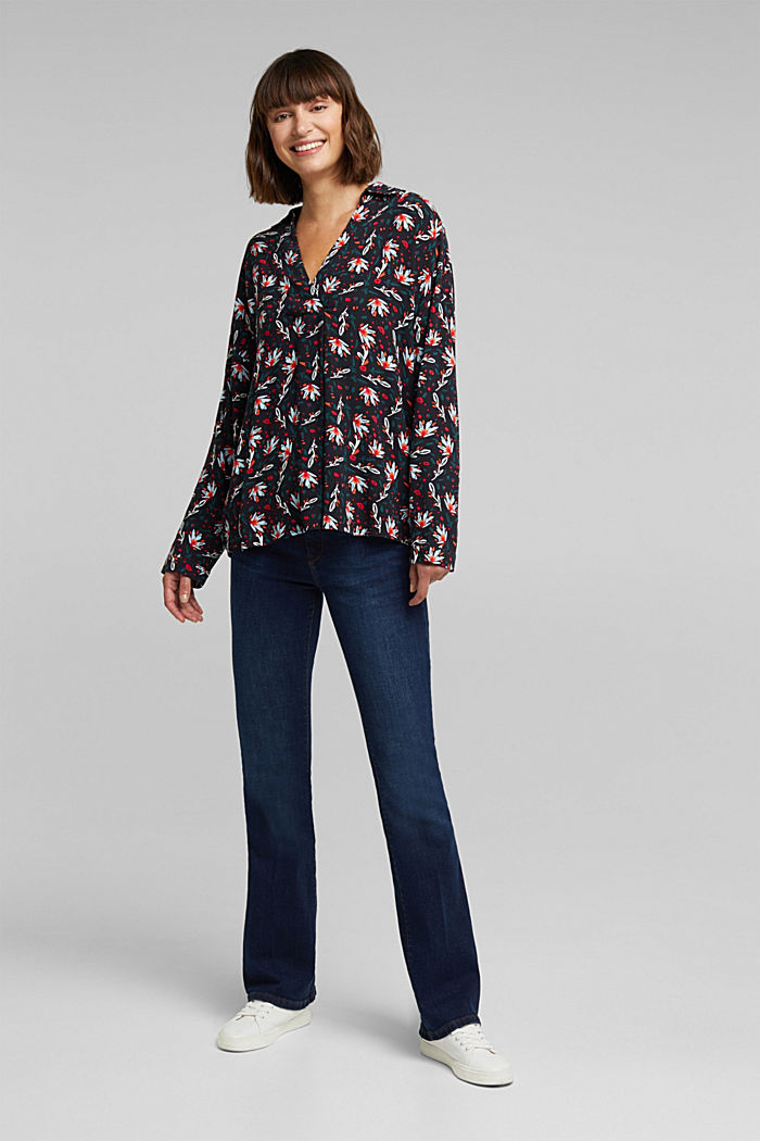 Slip-on blouse made of printed crêpe, BLACK, detail image number 1