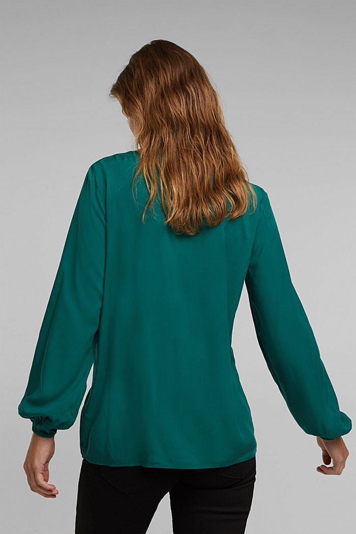 Blouse made of 100% LENZING™ ECOVERO™, DARK TEAL GREEN, detail image number 3