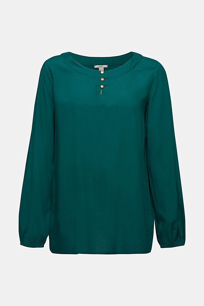 Blouse made of 100% LENZING™ ECOVERO™, DARK TEAL GREEN, detail image number 6