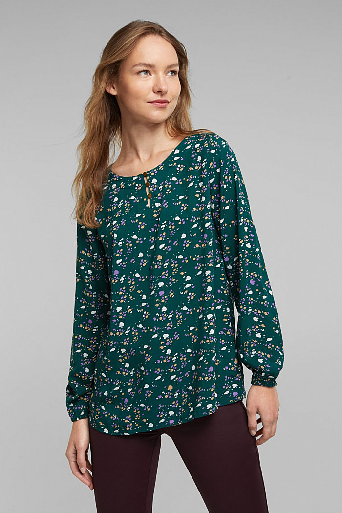 Blouse made of 100% LENZING™ ECOVERO™, DARK TEAL GREEN, detail image number 0