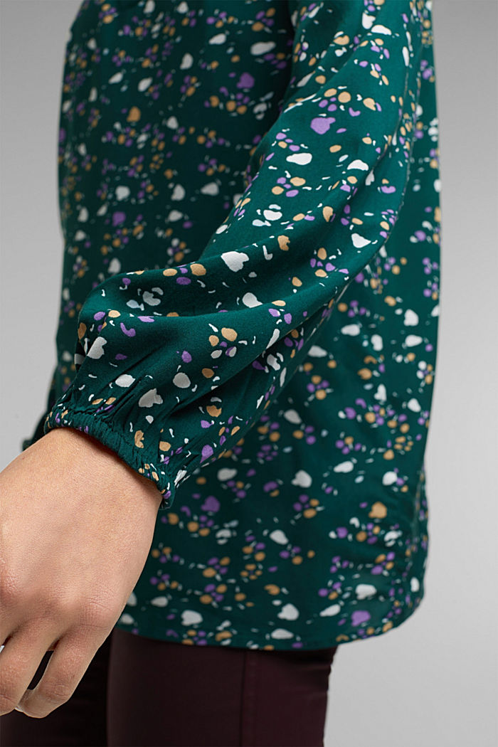 Blouse made of 100% LENZING™ ECOVERO™, DARK TEAL GREEN, detail image number 5