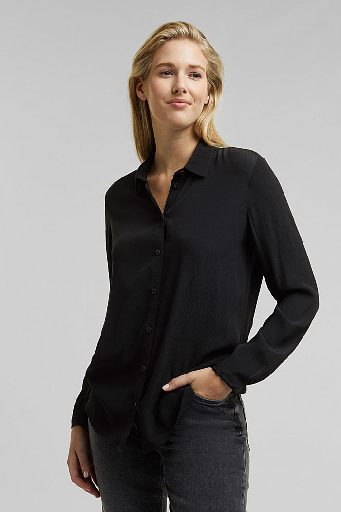 Blouse made from LENZING™ ECOVERO™, BLACK, detail image number 0
