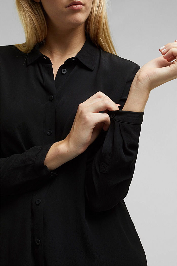 Blouse made from LENZING™ ECOVERO™, BLACK, detail image number 2