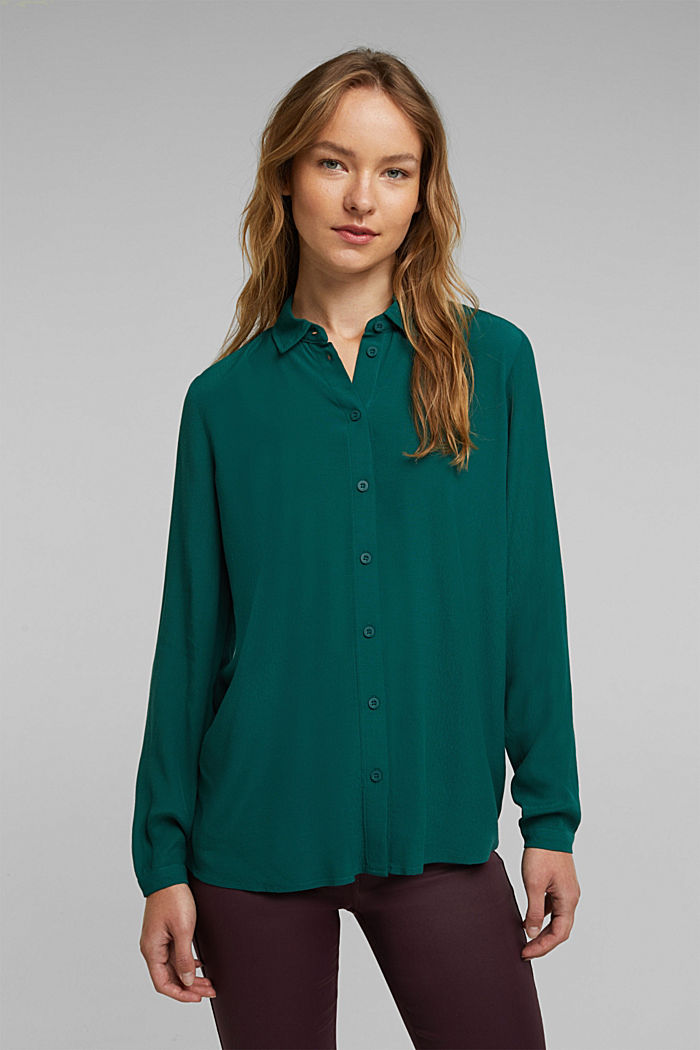 Blouse made from LENZING™ ECOVERO™, DARK TEAL GREEN, overview
