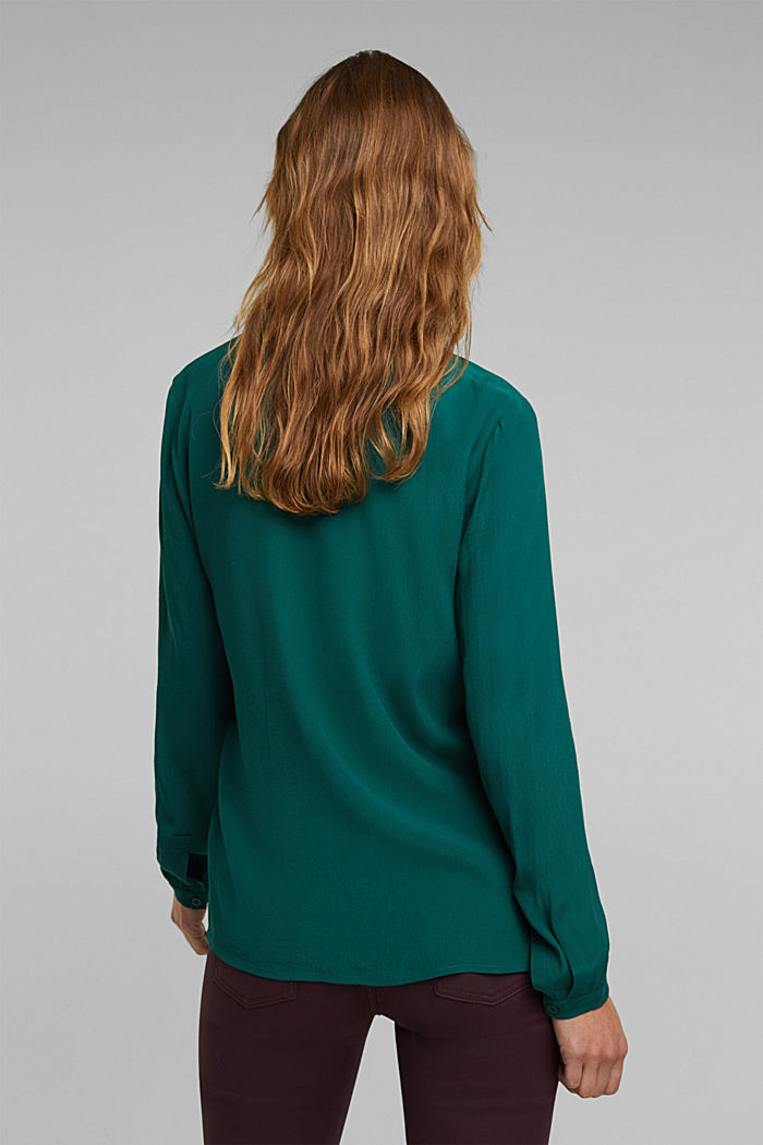 Blouse made from LENZING™ ECOVERO™, DARK TEAL GREEN, detail image number 3