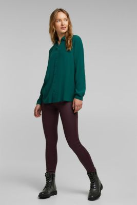 Blouse made from LENZING™ ECOVERO™, DARK TEAL GREEN, detail