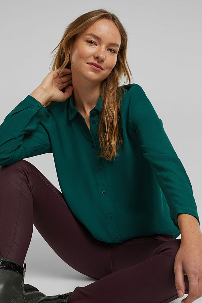 Blouse made from LENZING™ ECOVERO™, DARK TEAL GREEN, detail image number 5