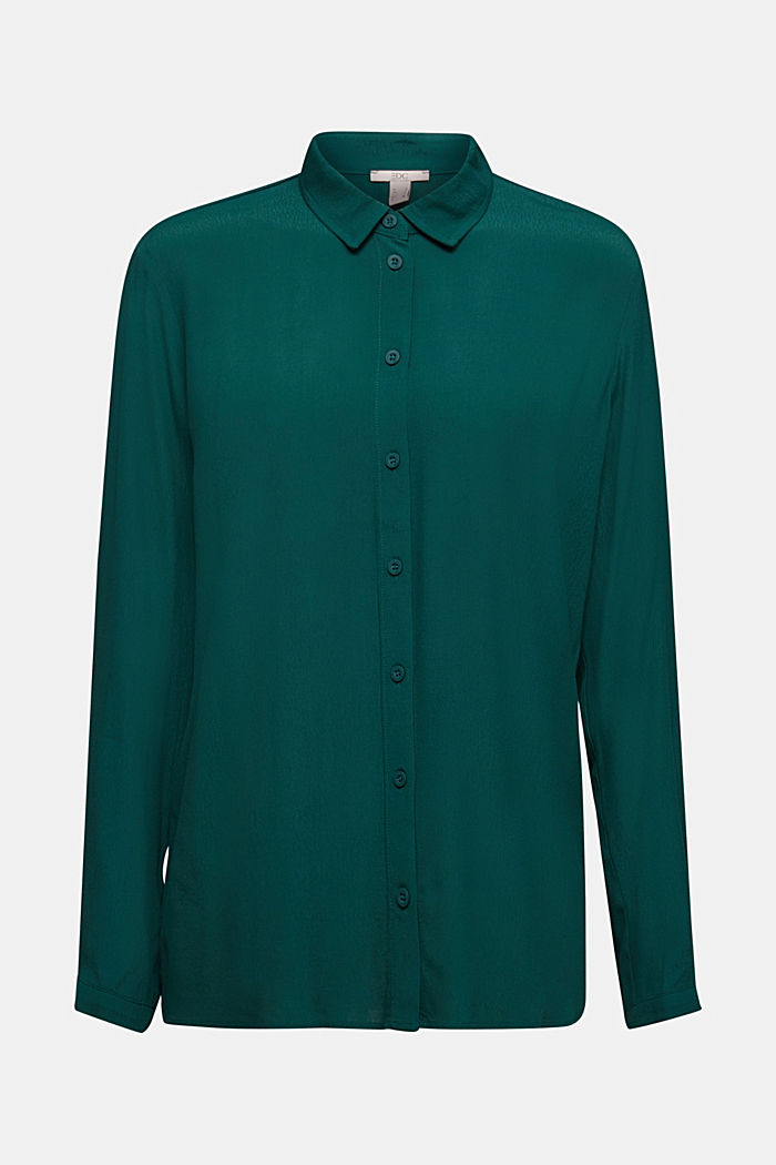 Blouse made from LENZING™ ECOVERO™, DARK TEAL GREEN, detail image number 6
