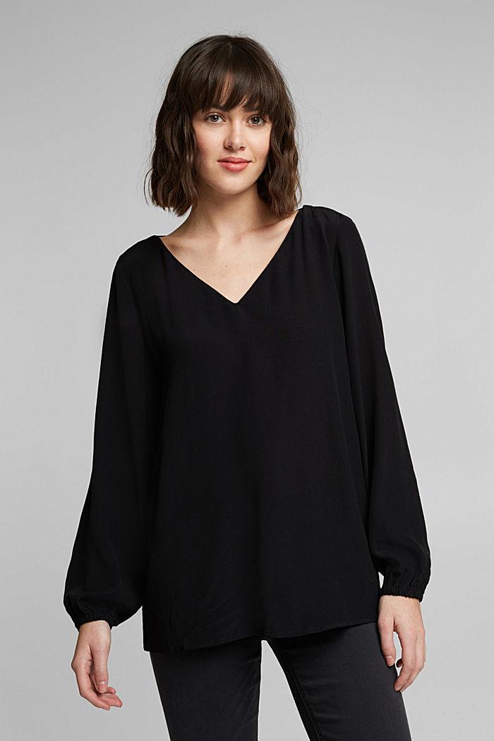 Crêpe V-neck blouse, BLACK, detail image number 0
