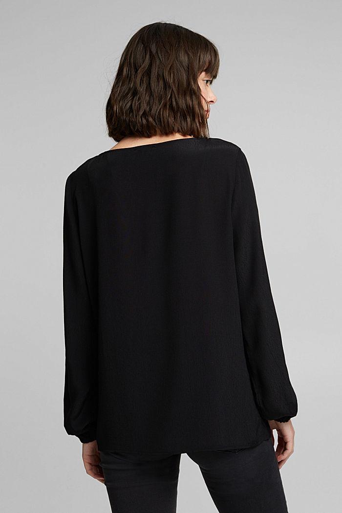 Crêpe V-neck blouse, BLACK, detail image number 3