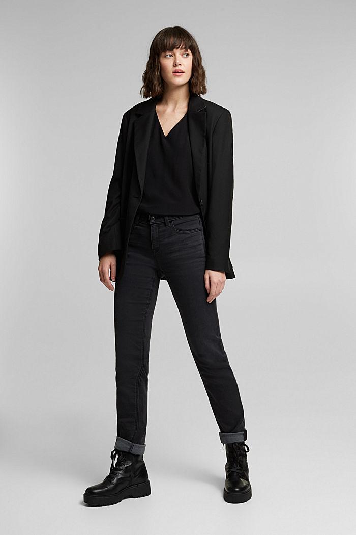 Crêpe V-neck blouse, BLACK, detail image number 1