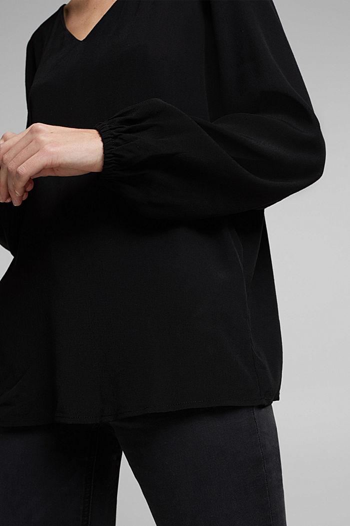 Crêpe V-neck blouse, BLACK, detail image number 2