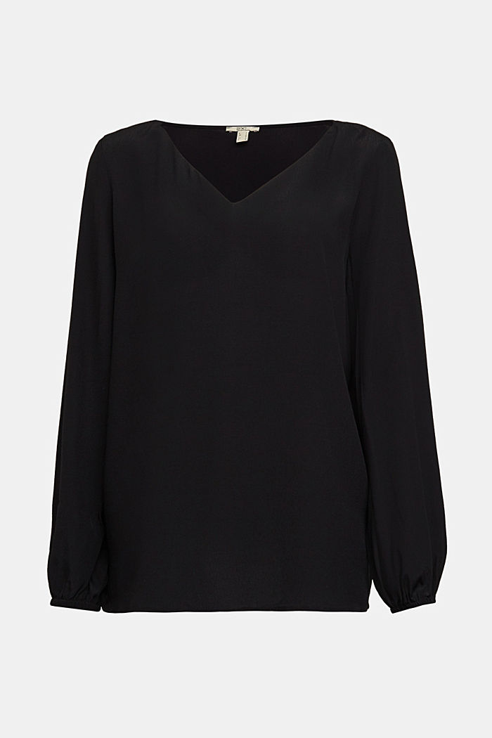 Crêpe V-neck blouse, BLACK, detail image number 5