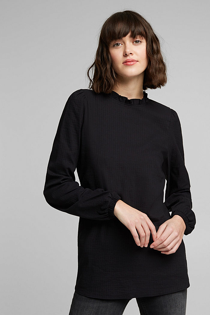 In blended cotton: Blouse with flounce collar, BLACK, detail image number 0
