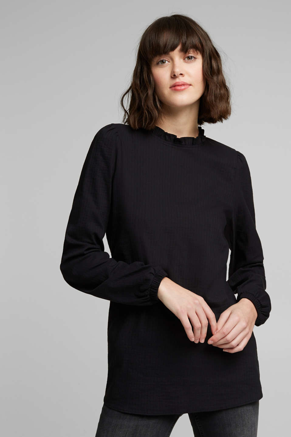 edc - In blended cotton: Blouse with flounce collar