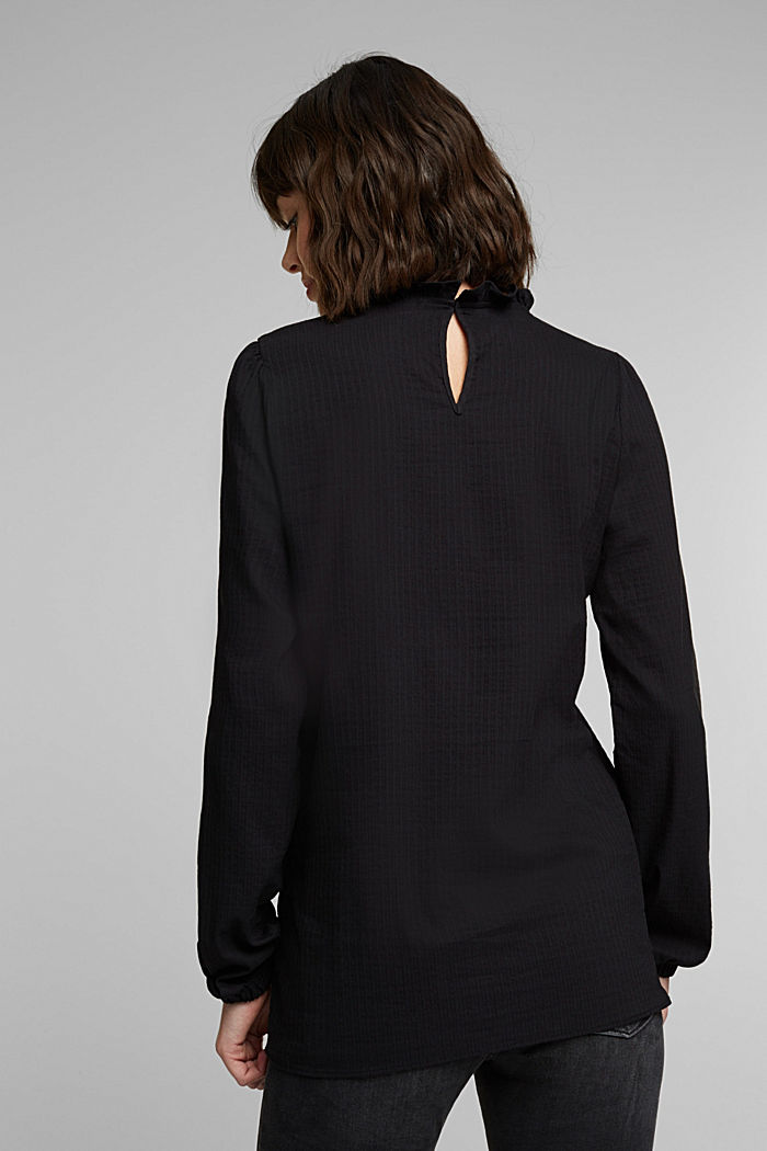 In blended cotton: Blouse with flounce collar, BLACK, detail image number 3