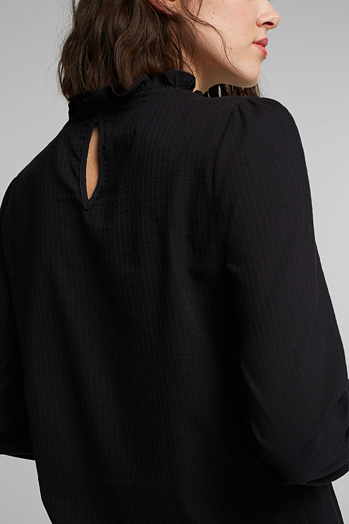 In blended cotton: Blouse with flounce collar, BLACK, detail image number 2