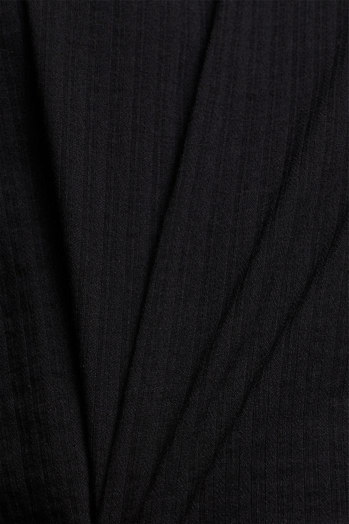 In blended cotton: Blouse with flounce collar, BLACK, detail image number 4