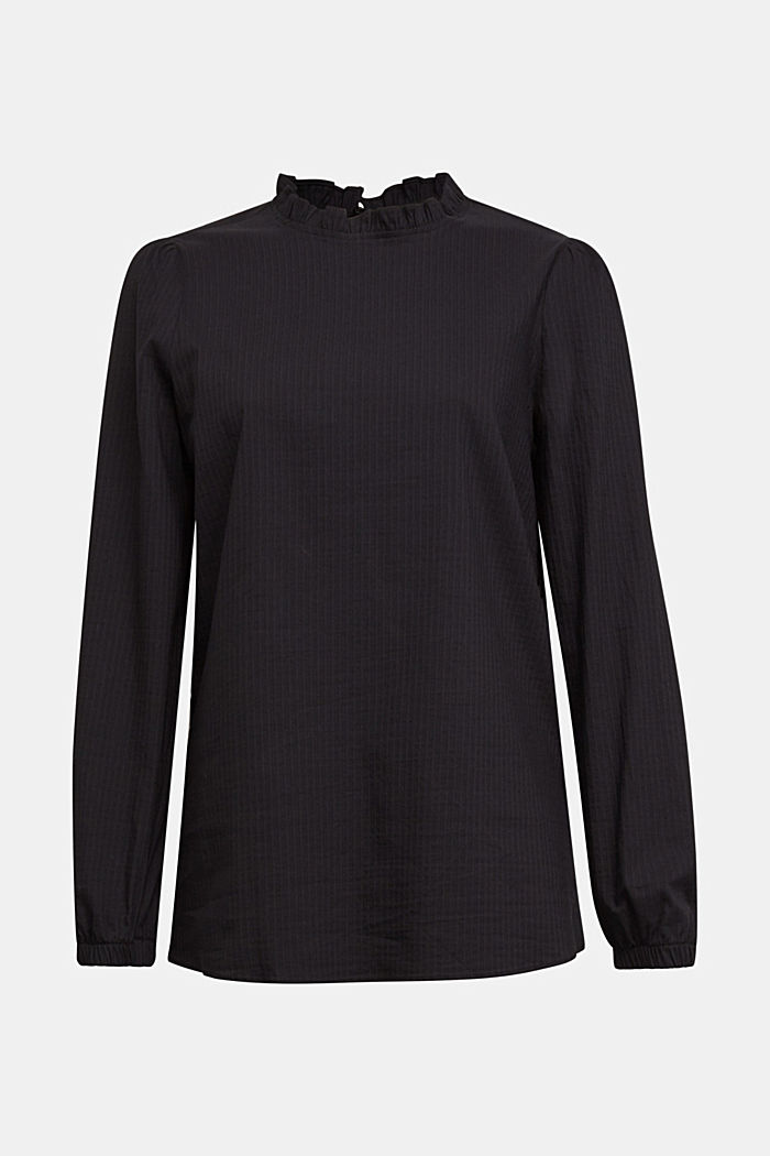 In blended cotton: Blouse with flounce collar, BLACK, detail image number 5
