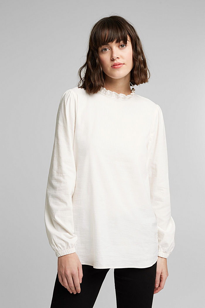 In blended cotton: Blouse with flounce collar, OFF WHITE, detail image number 0