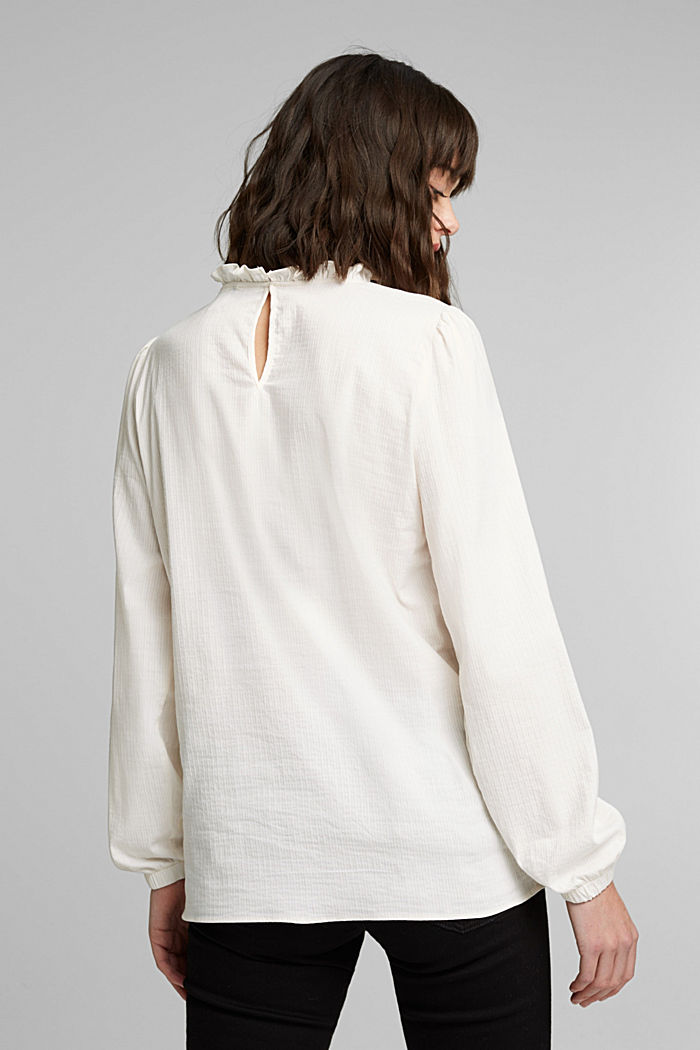 In blended cotton: Blouse with flounce collar, OFF WHITE, detail image number 3