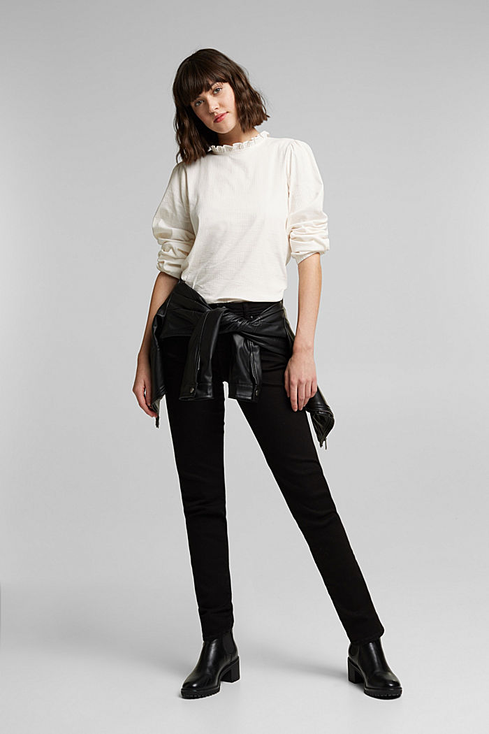In blended cotton: Blouse with flounce collar, OFF WHITE, detail image number 1