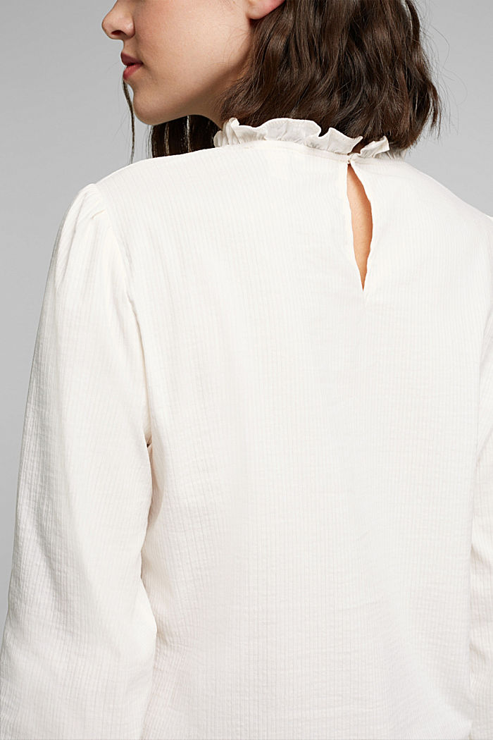 In blended cotton: Blouse with flounce collar, OFF WHITE, detail image number 2