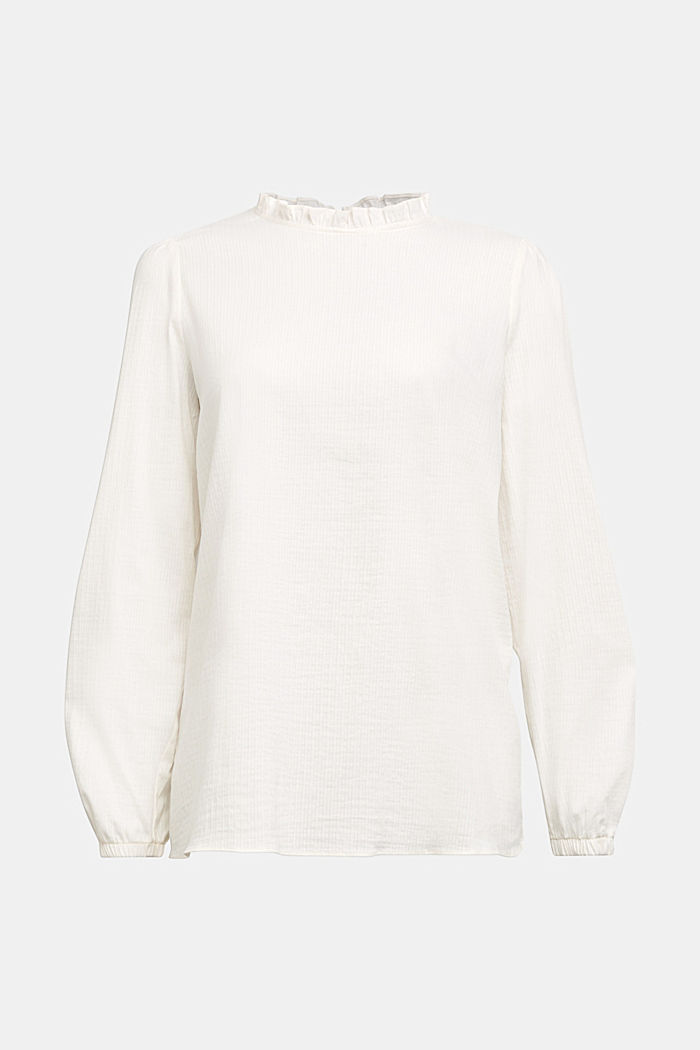 In blended cotton: Blouse with flounce collar