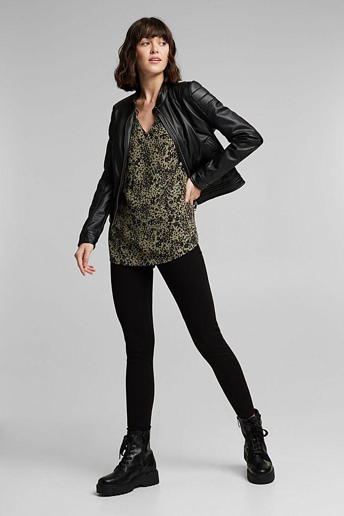 Print V-neck blouse, BLACK, detail image number 1