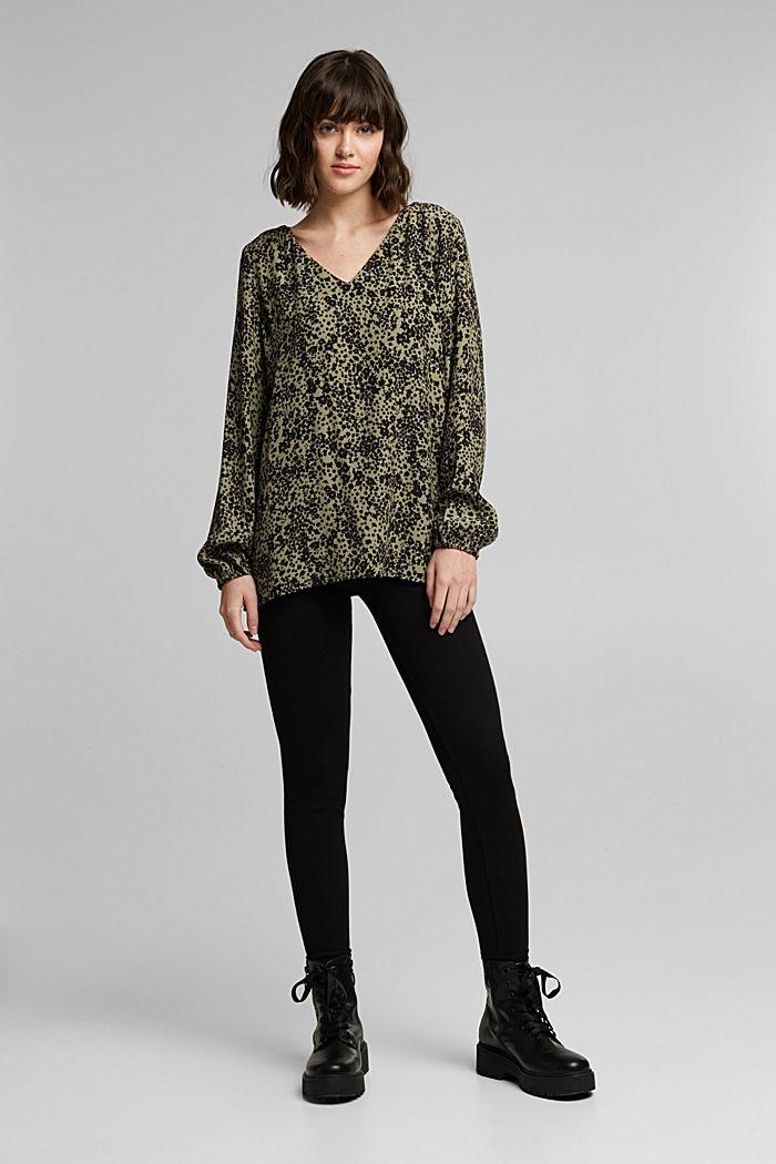 Print V-neck blouse, BLACK, detail image number 7