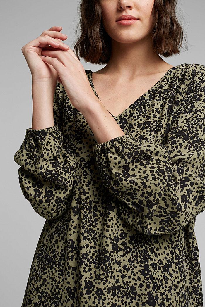 Print V-neck blouse, BLACK, detail image number 2