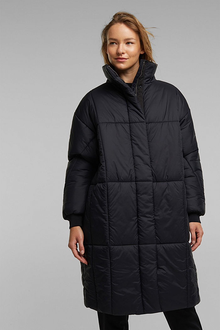 Recycled: padded, oversized quilted coat, BLACK, detail image number 0