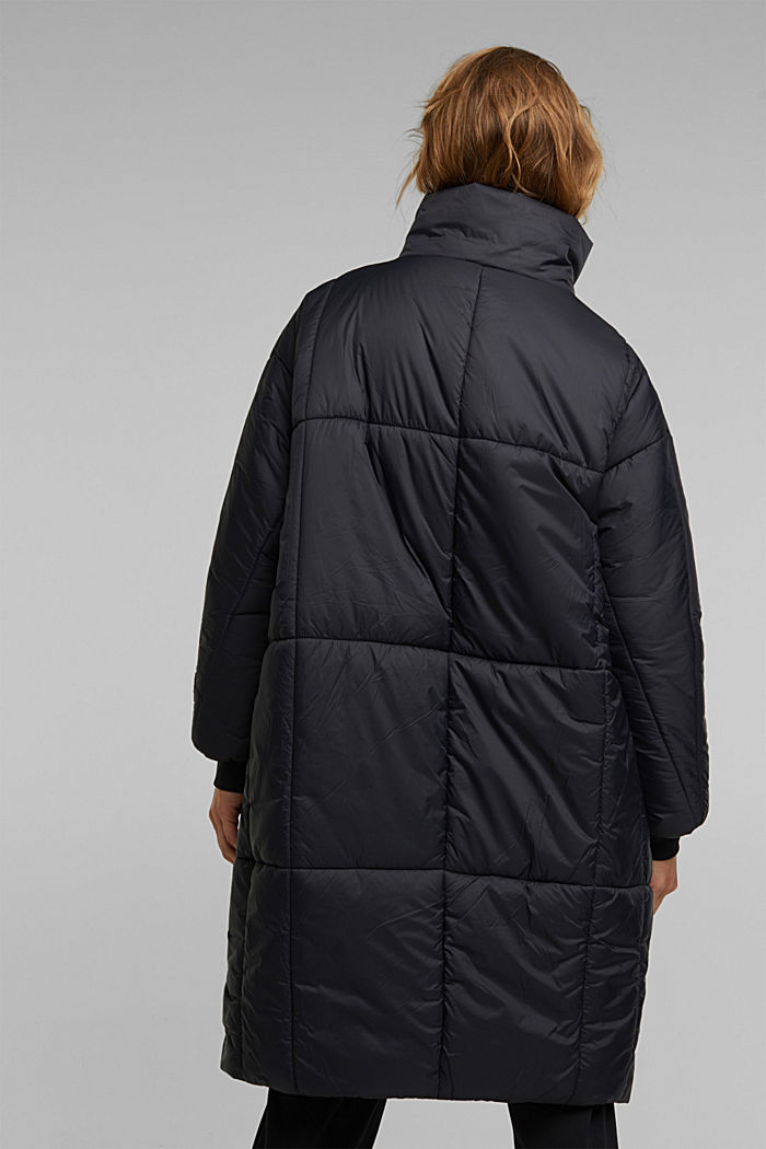 Recycled: padded, oversized quilted coat, BLACK, detail image number 3