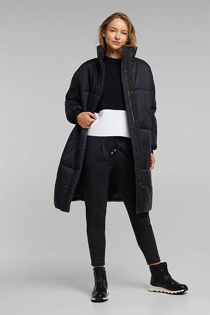 Recycled: padded, oversized quilted coat, BLACK, detail image number 1